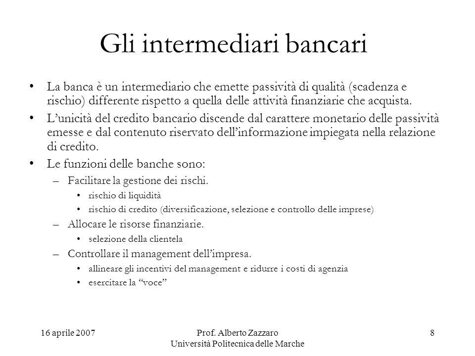 16 aprile 2007Prof. Alberto Zazzaro Università Politecnica delle Marche 8 Gli intermediari bancari La banca è un intermediario che emette passività di