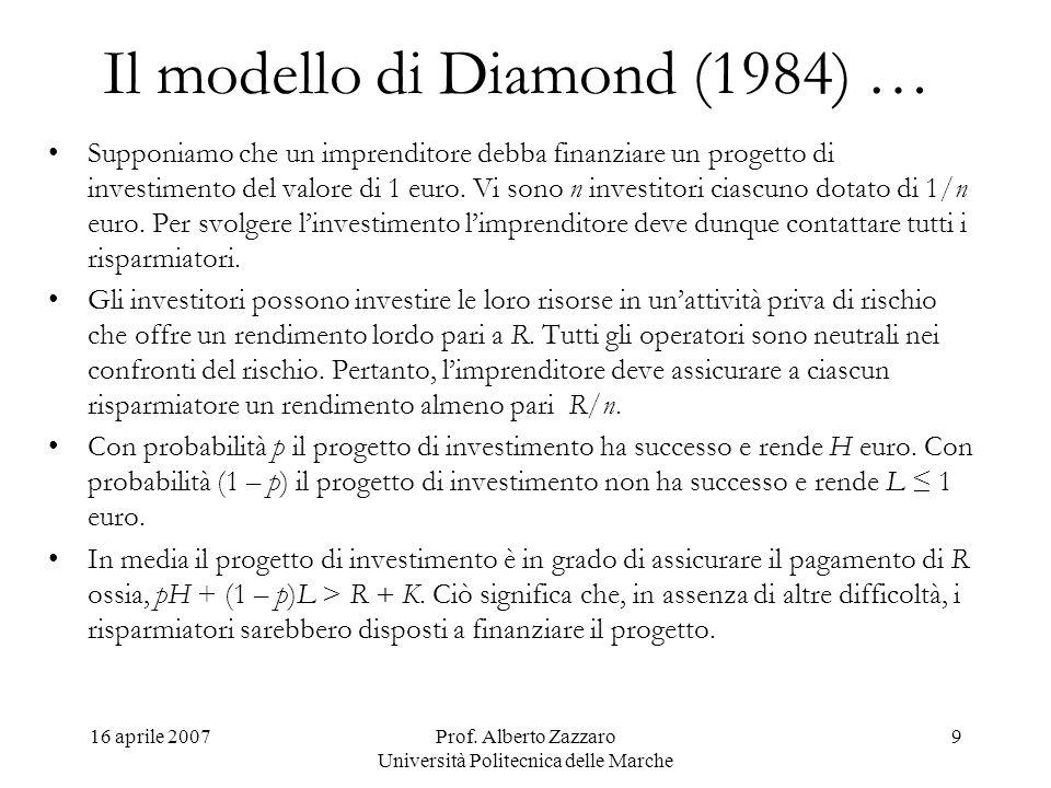 16 aprile 2007Prof. Alberto Zazzaro Università Politecnica delle Marche 9 Il modello di Diamond (1984) … Supponiamo che un imprenditore debba finanzia