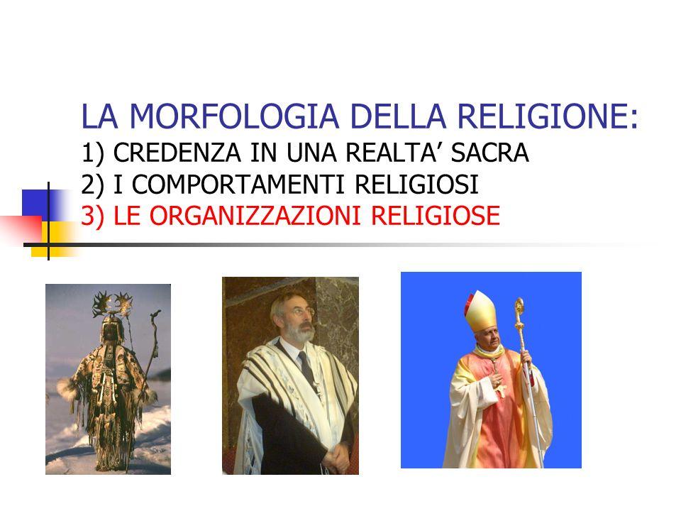 LA MORFOLOGIA DELLA RELIGIONE: 1) CREDENZA IN UNA REALTA SACRA 2) I COMPORTAMENTI RELIGIOSI 3) LE ORGANIZZAZIONI RELIGIOSE