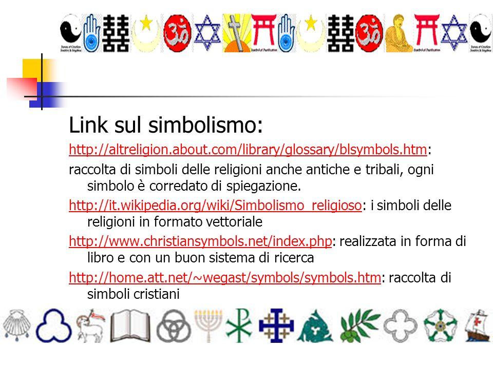 Link sul simbolismo: http://altreligion.about.com/library/glossary/blsymbols.htmhttp://altreligion.about.com/library/glossary/blsymbols.htm: raccolta di simboli delle religioni anche antiche e tribali, ogni simbolo è corredato di spiegazione.