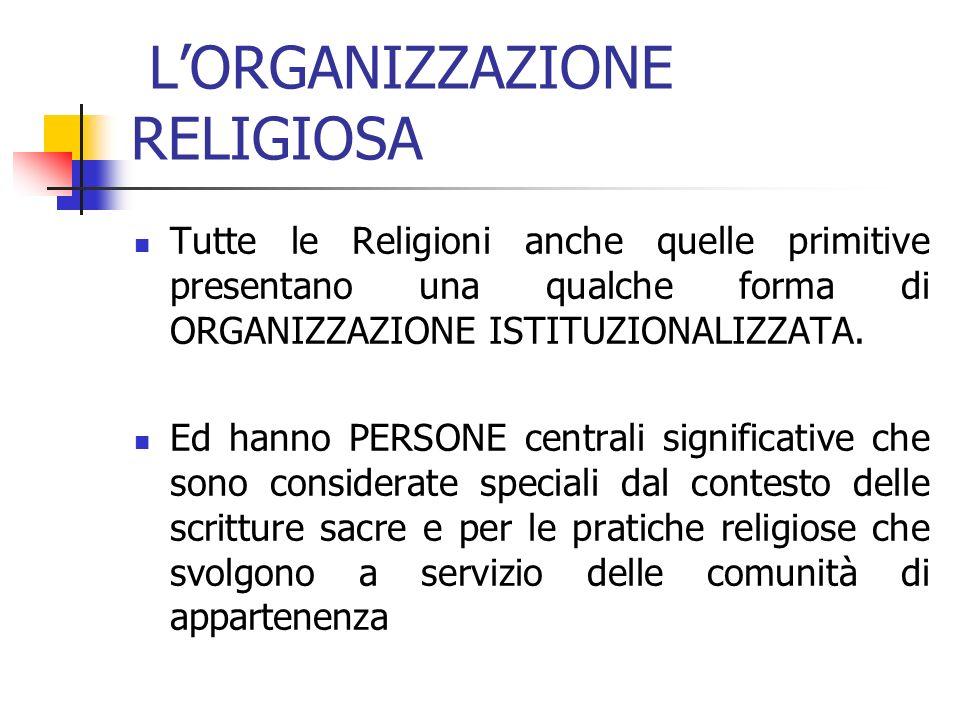LORGANIZZAZIONE RELIGIOSA Tutte le Religioni anche quelle primitive presentano una qualche forma di ORGANIZZAZIONE ISTITUZIONALIZZATA.
