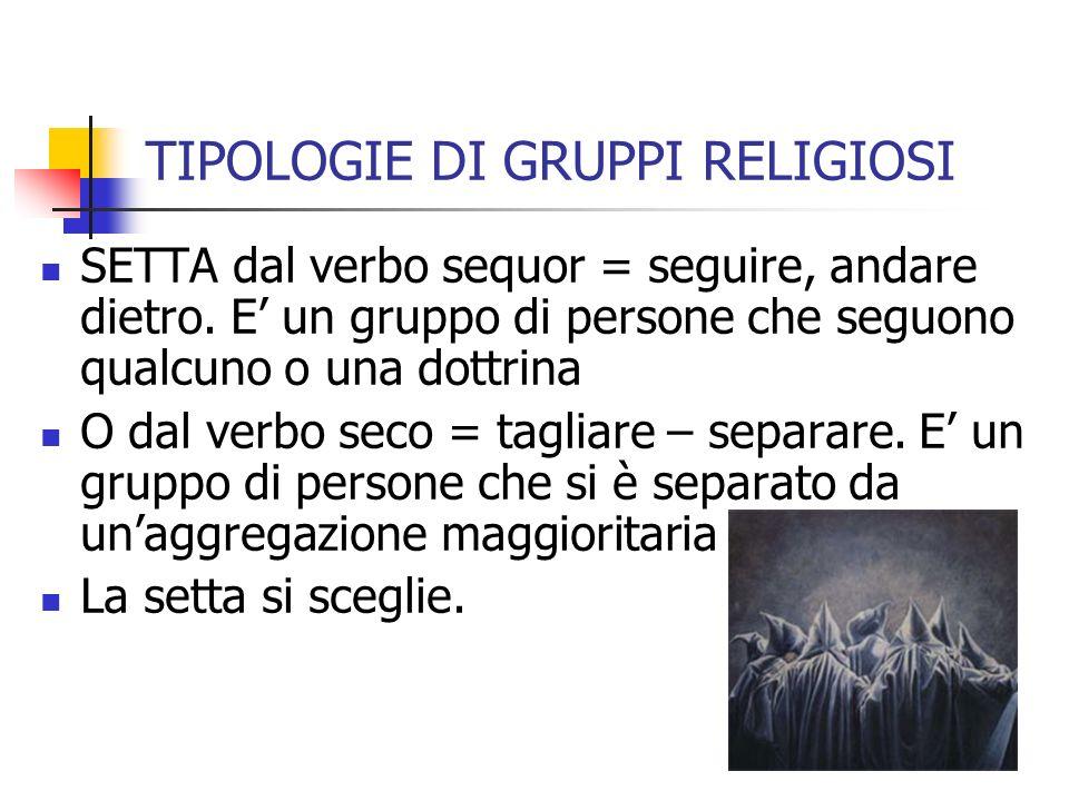 TIPOLOGIE DI GRUPPI RELIGIOSI SETTA dal verbo sequor = seguire, andare dietro.