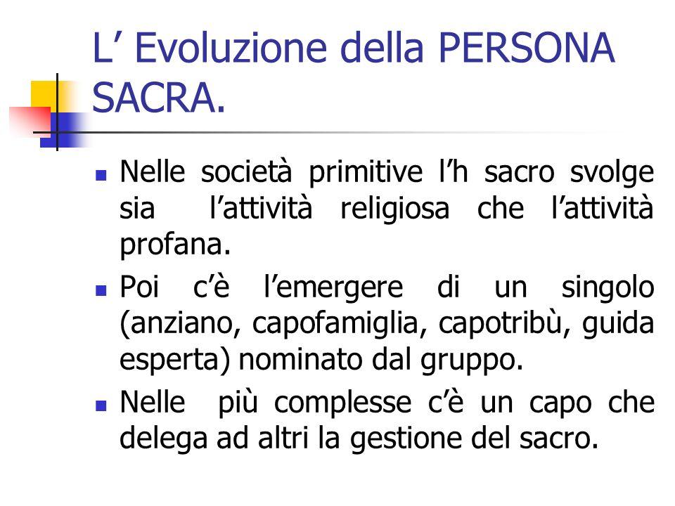 L Evoluzione della PERSONA SACRA.