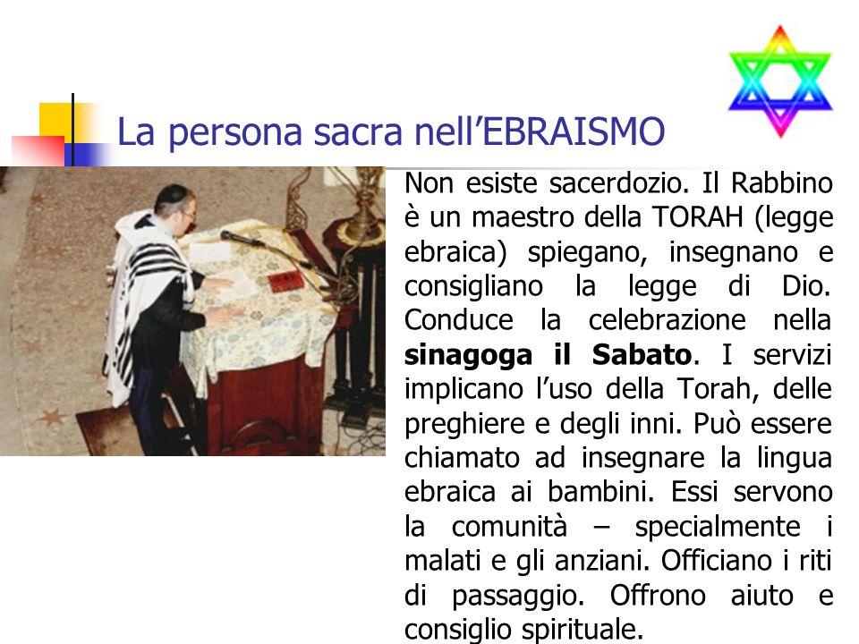 La persona sacra nellEBRAISMO Non esiste sacerdozio.