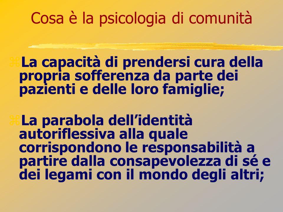 Cosa è la psicologia di comunità La capacità di prendersi cura della propria sofferenza da parte dei pazienti e delle loro famiglie; La parabola delli