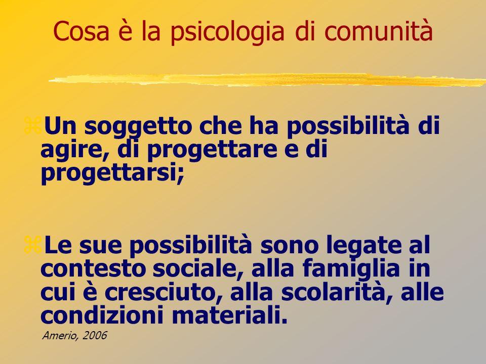 Cosa è la psicologia di comunità Un soggetto che ha possibilità di agire, di progettare e di progettarsi; Le sue possibilità sono legate al contesto s