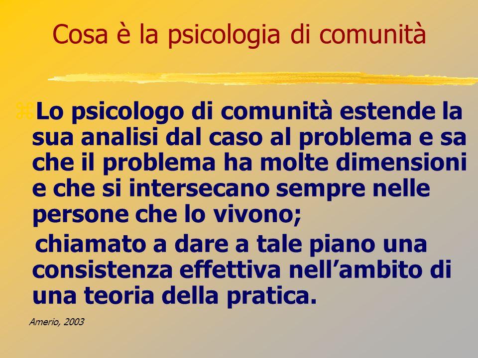 Cosa è la psicologia di comunità Lo psicologo di comunità estende la sua analisi dal caso al problema e sa che il problema ha molte dimensioni e che s