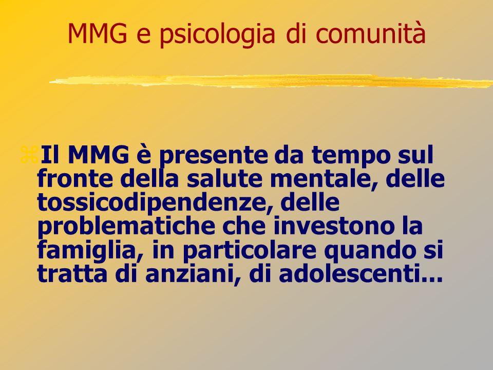 MMG e psicologia di comunità Il MMG è presente da tempo sul fronte della salute mentale, delle tossicodipendenze, delle problematiche che investono la