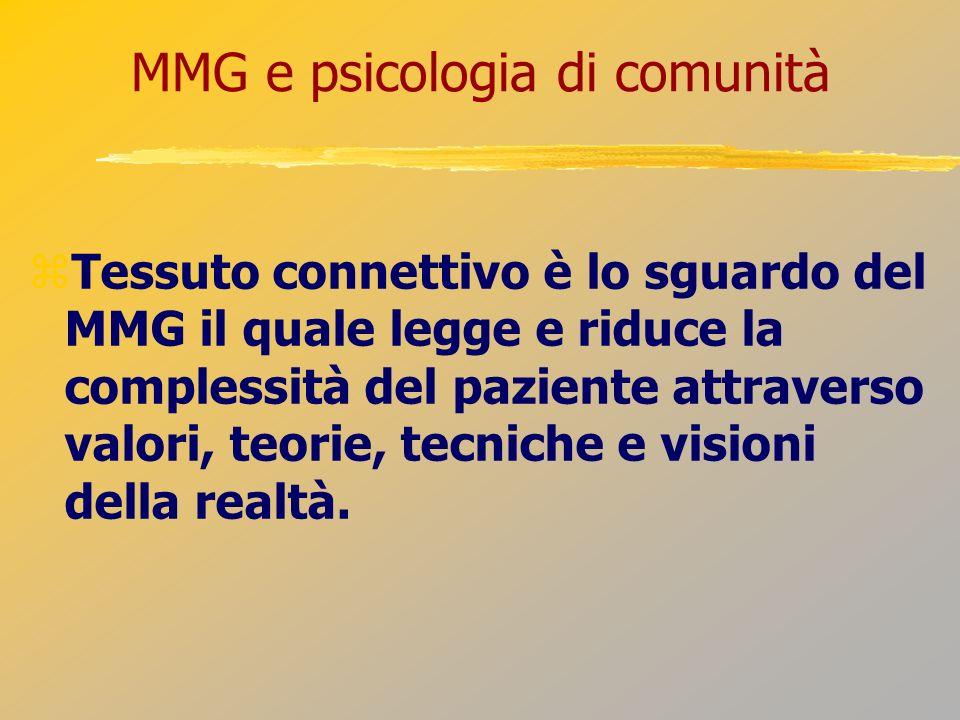 MMG e psicologia di comunità Tessuto connettivo è lo sguardo del MMG il quale legge e riduce la complessità del paziente attraverso valori, teorie, te