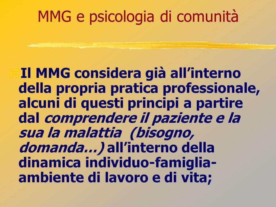MMG e psicologia di comunità Il MMG considera già allinterno della propria pratica professionale, alcuni di questi principi a partire dal comprendere