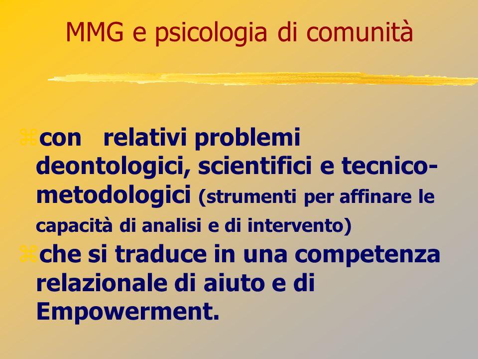 MMG e psicologia di comunità con relativi problemi deontologici, scientifici e tecnico- metodologici (strumenti per affinare le capacità di analisi e