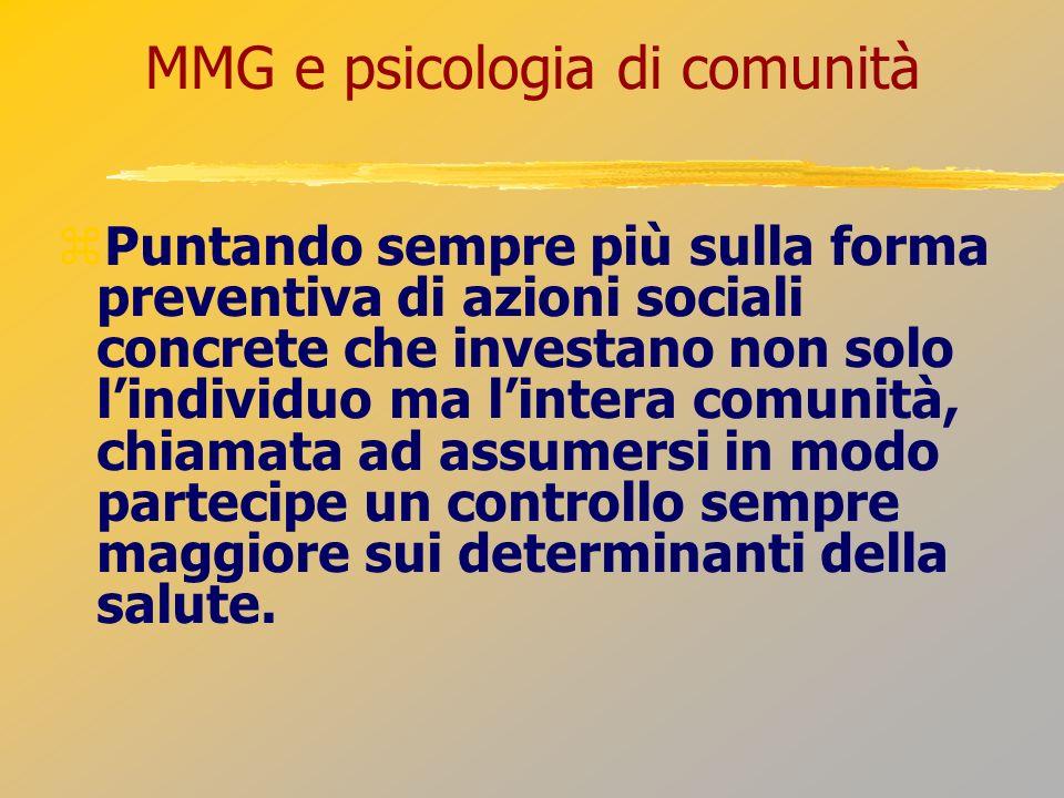 MMG e psicologia di comunità Puntando sempre più sulla forma preventiva di azioni sociali concrete che investano non solo lindividuo ma lintera comuni