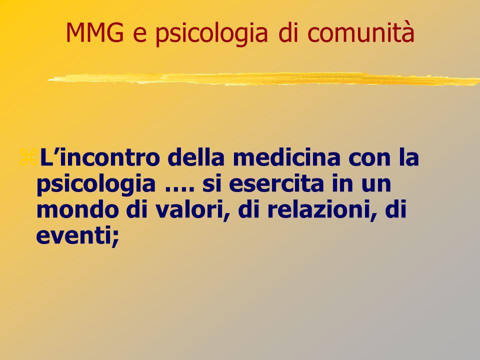 MMG e psicologia di comunità Lincontro della medicina con la psicologia …. si esercita in un mondo di valori, di relazioni, di eventi;