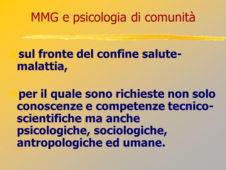 MMG e psicologia di comunità sul fronte del confine salute- malattia, per il quale sono richieste non solo conoscenze e competenze tecnico- scientific