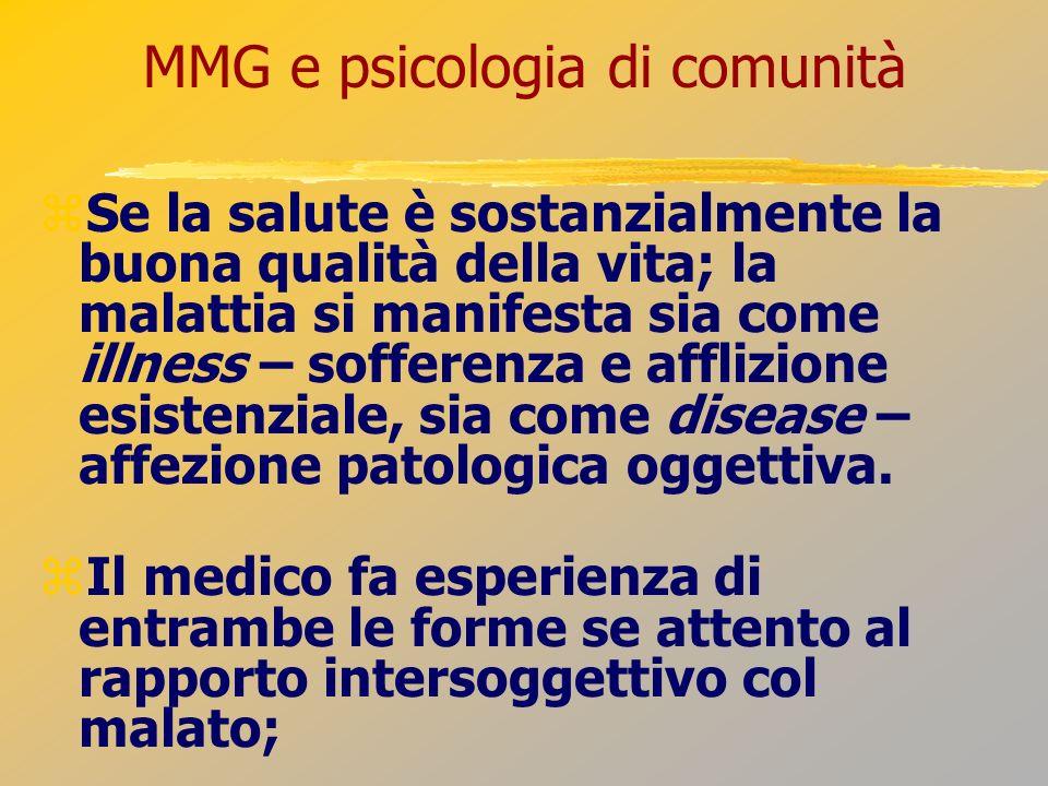 MMG e psicologia di comunità Se la salute è sostanzialmente la buona qualità della vita; la malattia si manifesta sia come illness – sofferenza e affl