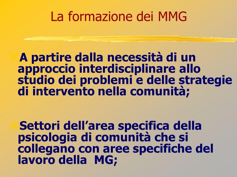 La formazione dei MMG A partire dalla necessità di un approccio interdisciplinare allo studio dei problemi e delle strategie di intervento nella comun