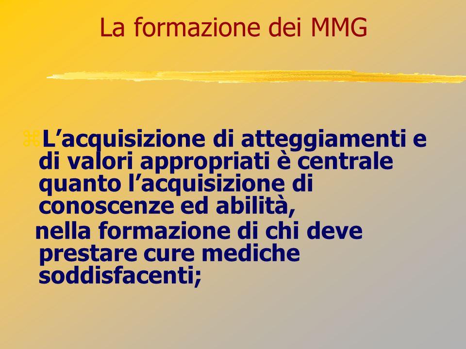 La formazione dei MMG Lacquisizione di atteggiamenti e di valori appropriati è centrale quanto lacquisizione di conoscenze ed abilità, nella formazion