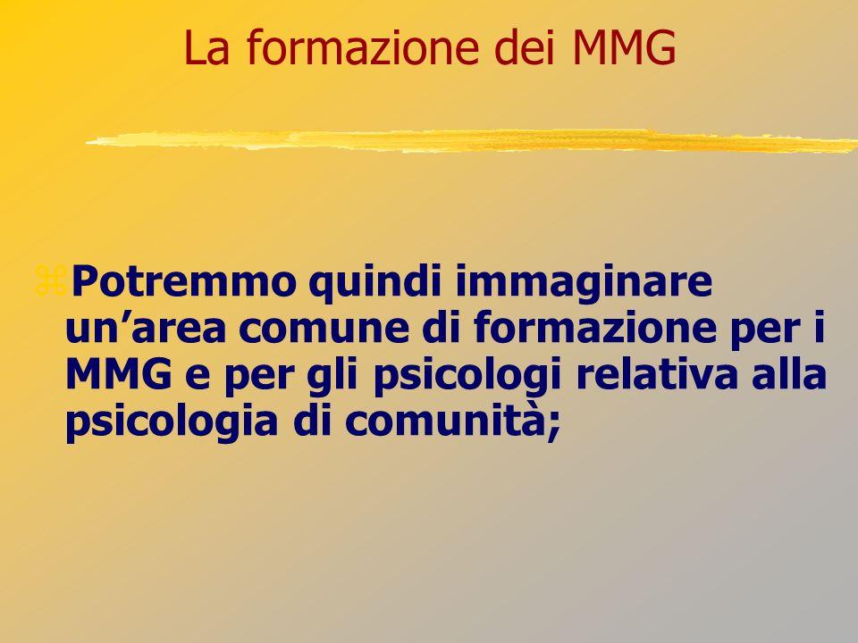 La formazione dei MMG Potremmo quindi immaginare unarea comune di formazione per i MMG e per gli psicologi relativa alla psicologia di comunità;