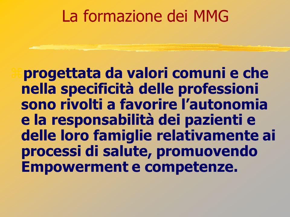 La formazione dei MMG progettata da valori comuni e che nella specificità delle professioni sono rivolti a favorire lautonomia e la responsabilità dei