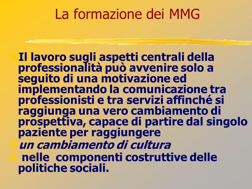 La formazione dei MMG Il lavoro sugli aspetti centrali della professionalità può avvenire solo a seguito di una motivazione ed implementando la comuni
