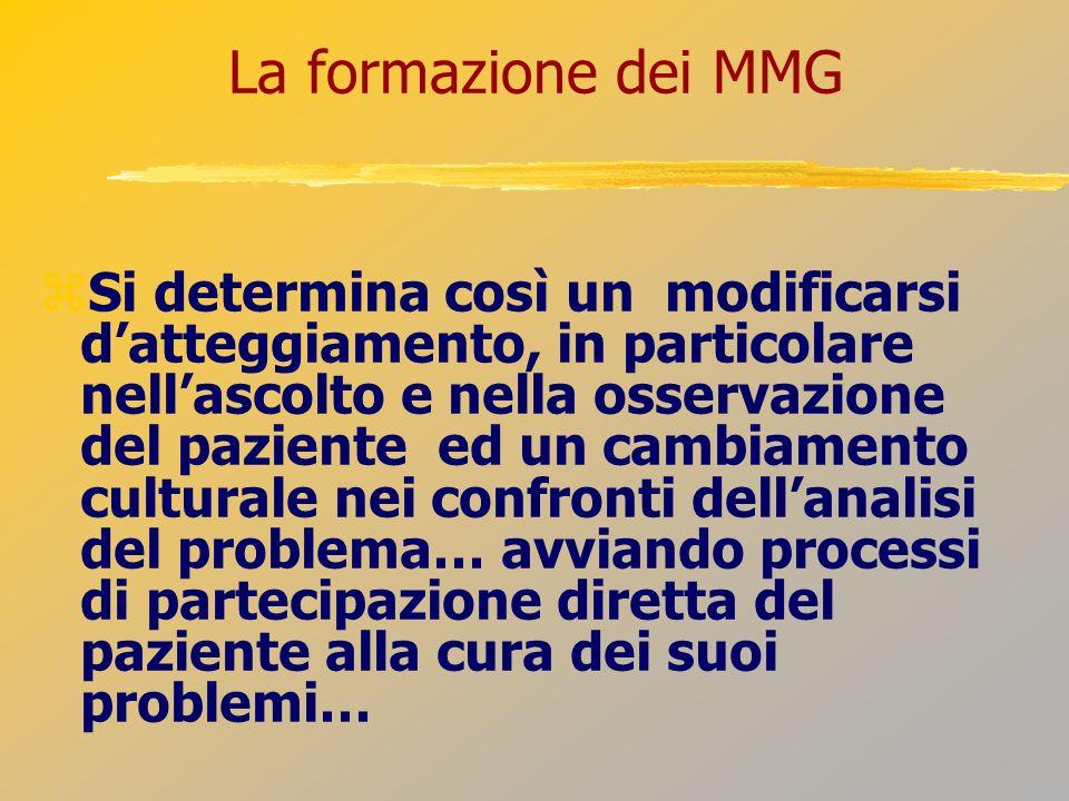 La formazione dei MMG Si determina così un modificarsi datteggiamento, in particolare nellascolto e nella osservazione del paziente ed un cambiamento