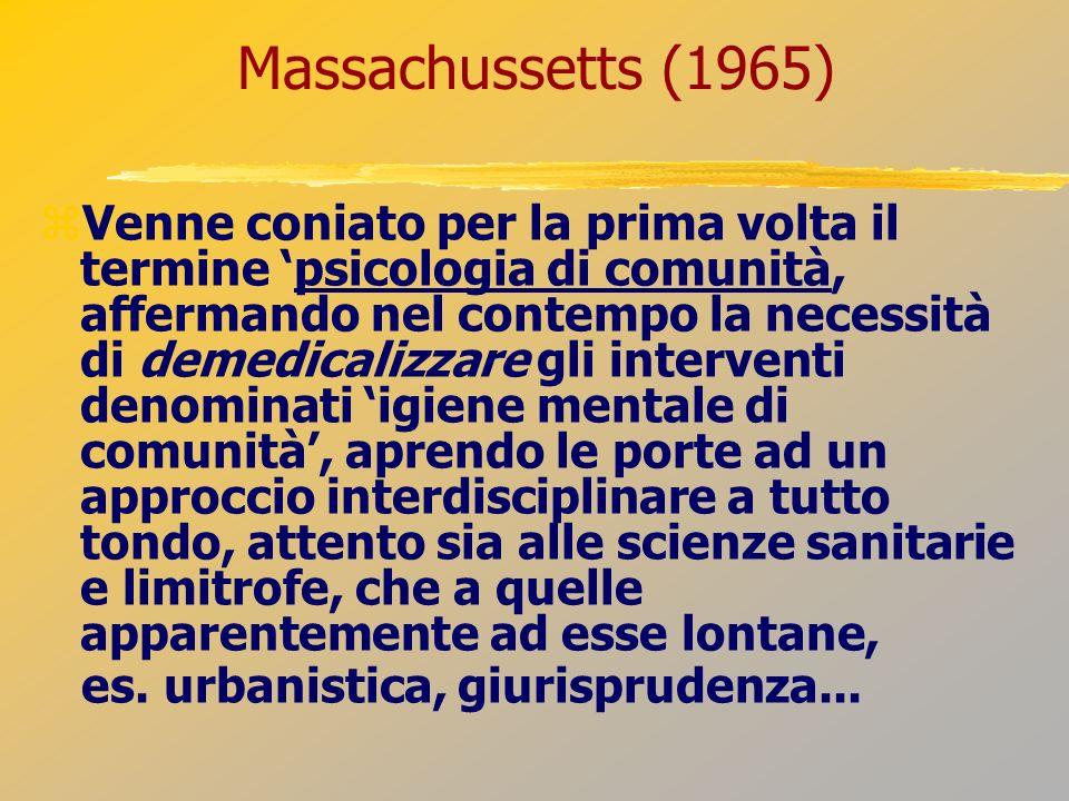 Massachussetts (1965) Venne coniato per la prima volta il termine psicologia di comunità, affermando nel contempo la necessità di demedicalizzare gli