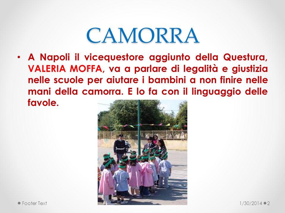 CAMORRA A Napoli il vicequestore aggiunto della Questura, VALERIA MOFFA, va a parlare di legalità e giustizia nelle scuole per aiutare i bambini a non