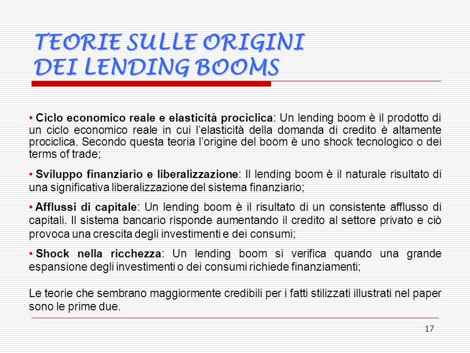 17 TEORIE SULLE ORIGINI DEI LENDING BOOMS Ciclo economico reale e elasticità prociclica: Un lending boom è il prodotto di un ciclo economico reale in cui lelasticità della domanda di credito è altamente prociclica.