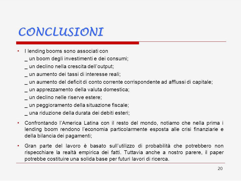 20 CONCLUSIONI I lending booms sono associati con _ un boom degli investimenti e dei consumi; _ un declino nella crescita delloutput; _ un aumento dei tassi di interesse reali; _ un aumento del deficit di conto corrente corrispondente ad afflussi di capitale; _ un apprezzamento della valuta domestica; _ un declino nelle riserve estere; _ un peggioramento della situazione fiscale; _ una riduzione della durata dei debiti esteri; Confrontando lAmerica Latina con il resto del mondo, notiamo che nella prima i lending boom rendono leconomia particolarmente esposta alle crisi finanziarie e della bilancia dei pagamenti; Gran parte del lavoro è basato sullutilizzo di probabilità che potrebbero non rispecchiare la realtà empirica dei fatti.