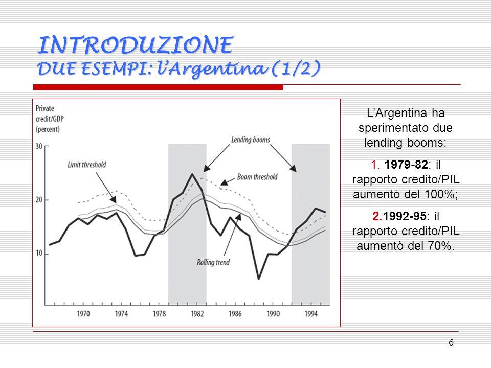 6 INTRODUZIONE DUE ESEMPI: lArgentina (1/2) LArgentina ha sperimentato due lending booms: 1.