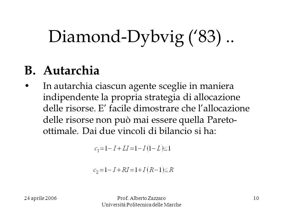 24 aprile 2006Prof. Alberto Zazzaro Università Politecnica delle Marche 10 Diamond-Dybvig (83).. B.Autarchia In autarchia ciascun agente sceglie in ma