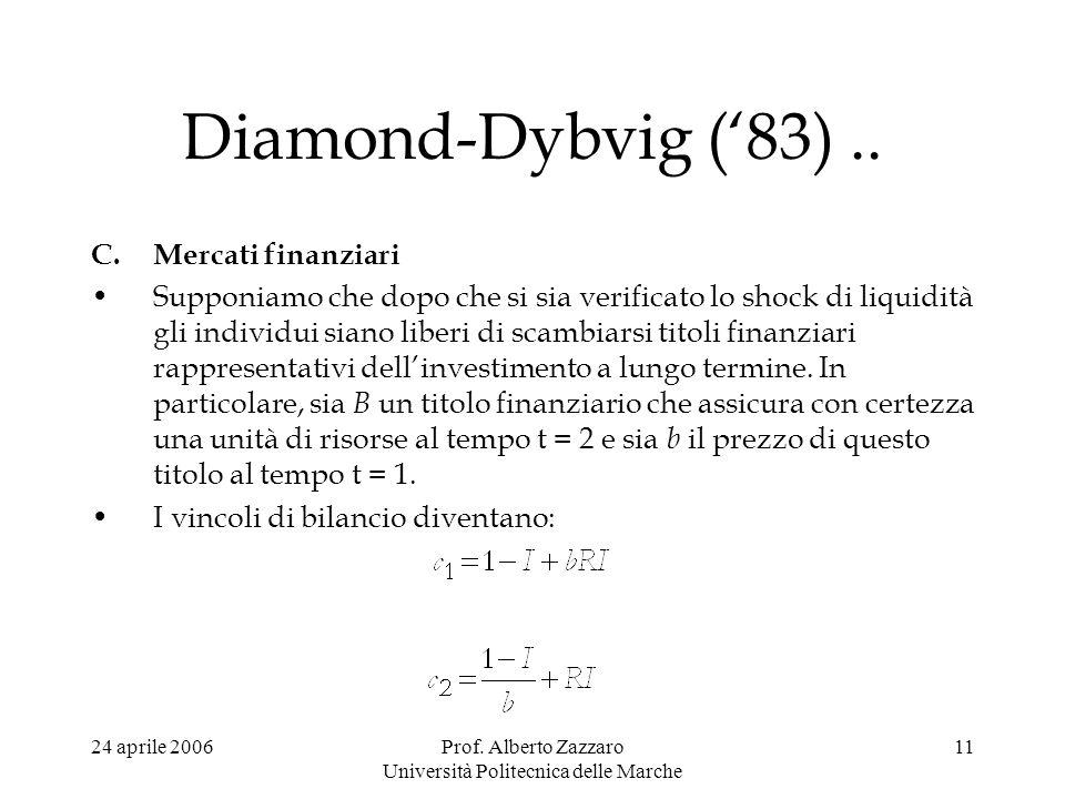 24 aprile 2006Prof. Alberto Zazzaro Università Politecnica delle Marche 11 Diamond-Dybvig (83).. C.Mercati finanziari Supponiamo che dopo che si sia v