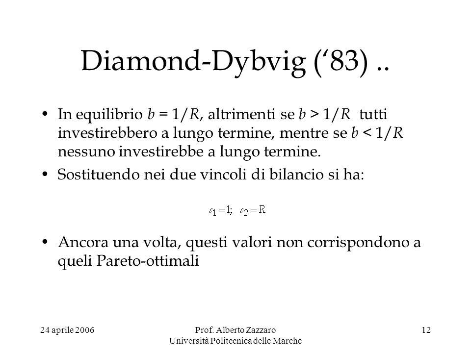 24 aprile 2006Prof. Alberto Zazzaro Università Politecnica delle Marche 12 Diamond-Dybvig (83).. In equilibrio b = 1/ R, altrimenti se b > 1/ R tutti