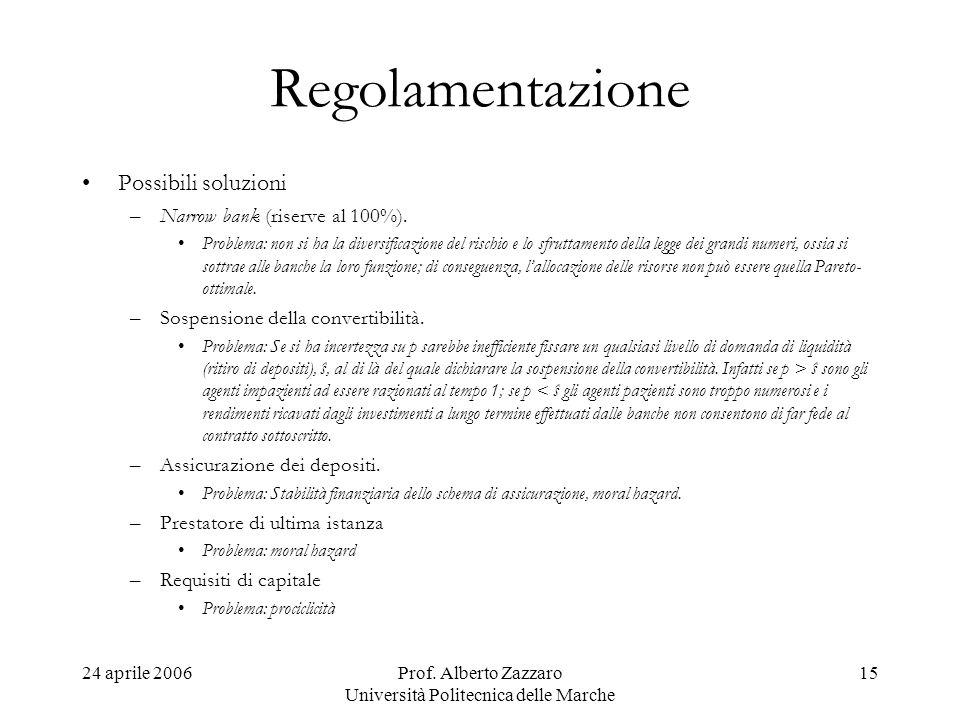 24 aprile 2006Prof. Alberto Zazzaro Università Politecnica delle Marche 15 Regolamentazione Possibili soluzioni –Narrow bank (riserve al 100%). Proble