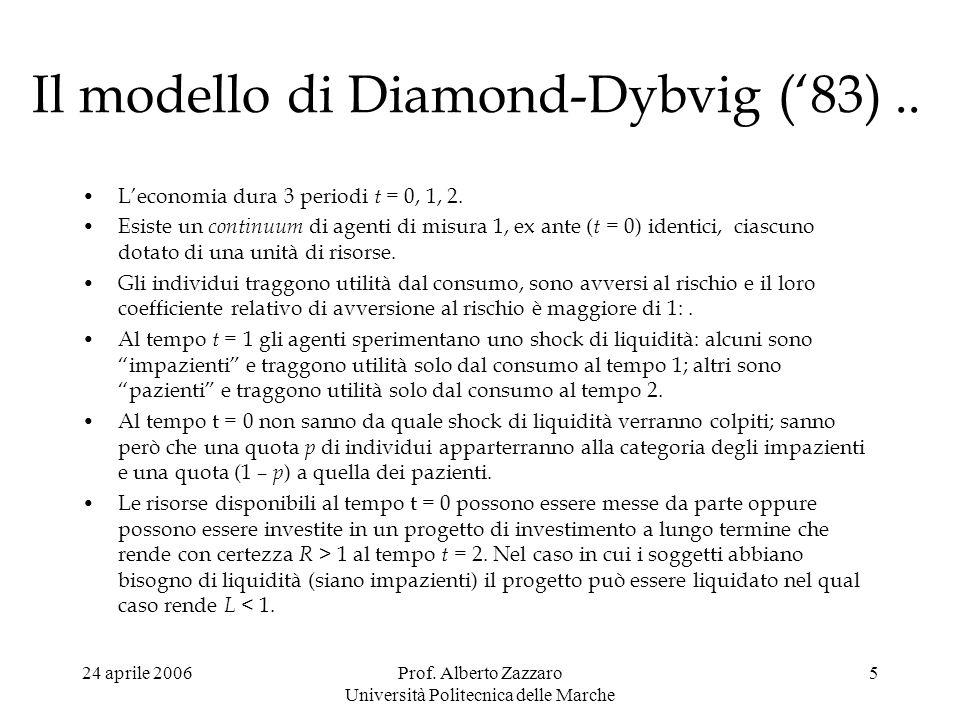 24 aprile 2006Prof. Alberto Zazzaro Università Politecnica delle Marche 5 Il modello di Diamond-Dybvig (83).. Leconomia dura 3 periodi t = 0, 1, 2. Es