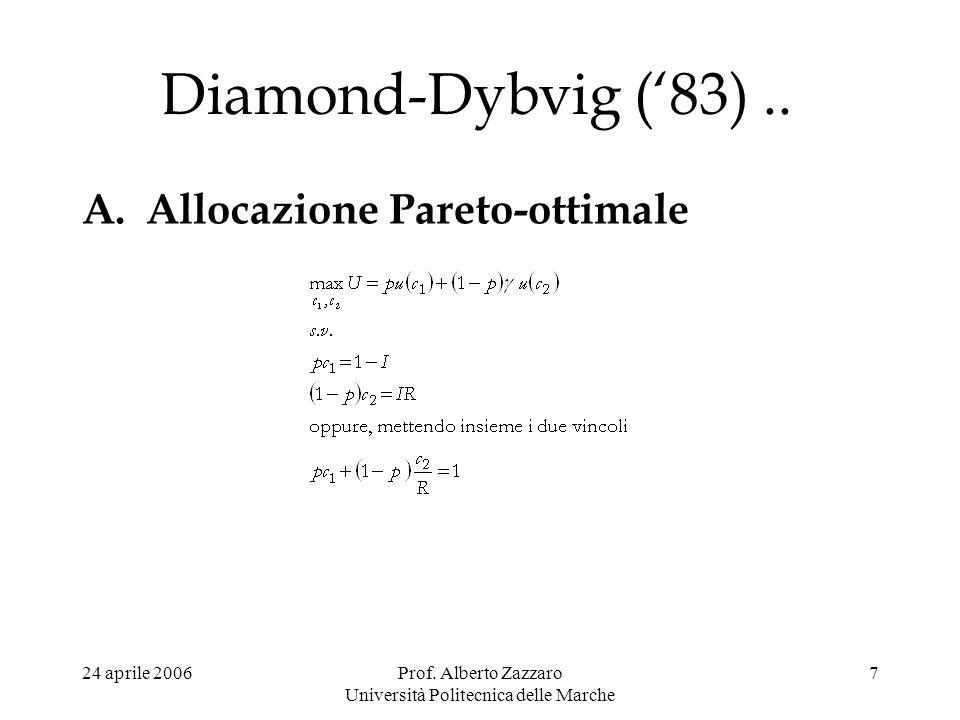24 aprile 2006Prof. Alberto Zazzaro Università Politecnica delle Marche 7 Diamond-Dybvig (83).. A.Allocazione Pareto-ottimale