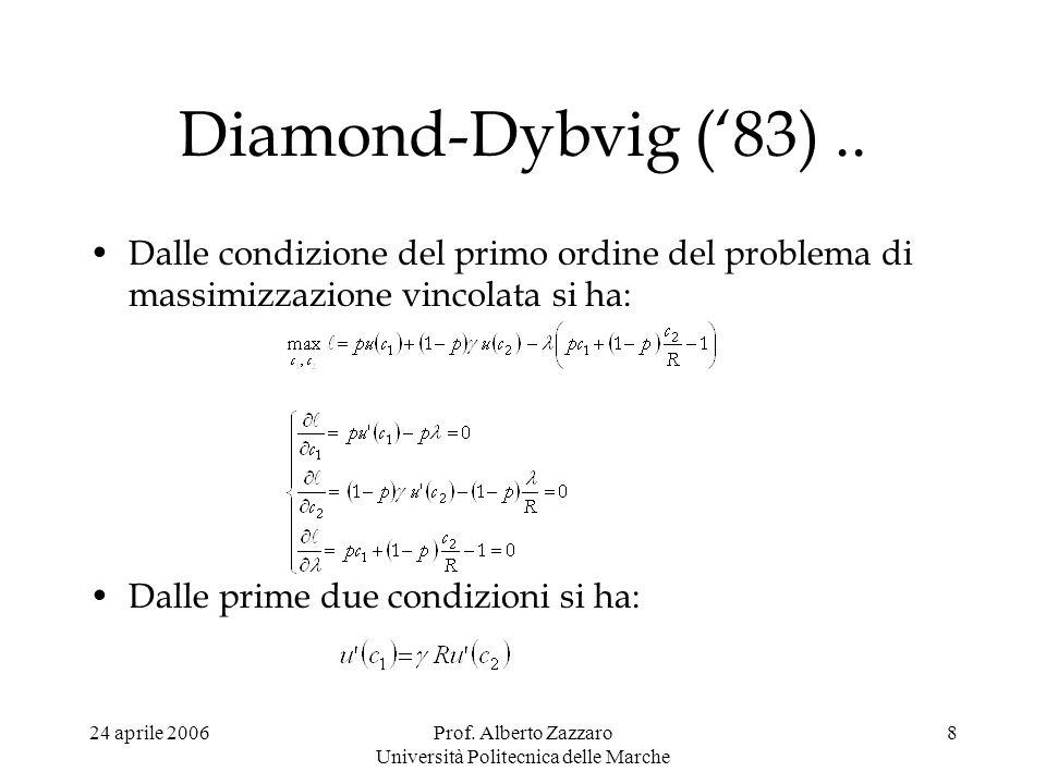 24 aprile 2006Prof. Alberto Zazzaro Università Politecnica delle Marche 8 Diamond-Dybvig (83).. Dalle condizione del primo ordine del problema di mass