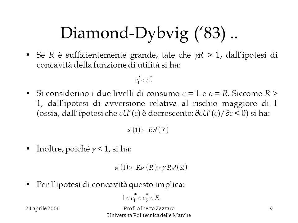 24 aprile 2006Prof. Alberto Zazzaro Università Politecnica delle Marche 9 Diamond-Dybvig (83).. Se R è sufficientemente grande, tale che R > 1, dallip