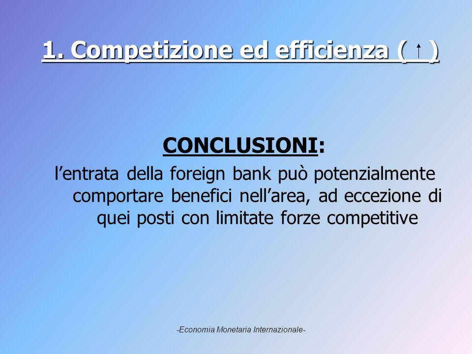 1. Competizione ed efficienza ( ) CONCLUSIONI: lentrata della foreign bank può potenzialmente comportare benefici nellarea, ad eccezione di quei posti