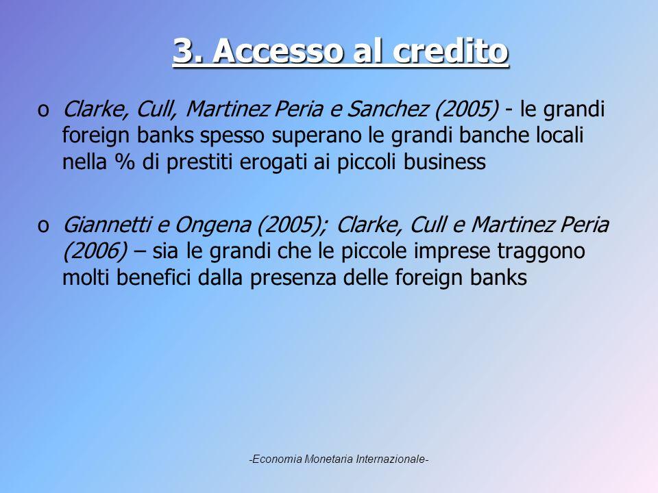 3. Accesso al credito oClarke, Cull, Martinez Peria e Sanchez (2005) - le grandi foreign banks spesso superano le grandi banche locali nella % di pres