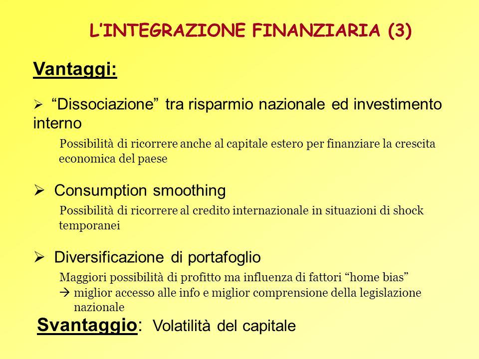 Vantaggi: Dissociazione tra risparmio nazionale ed investimento interno Possibilità di ricorrere anche al capitale estero per finanziare la crescita e