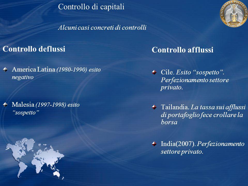 Controllo di capitali Alcuni casi concreti di controlli Controllo afflussi Cile. Esito sospetto. Perfezionamento settore privato. Tailandia. La tassa