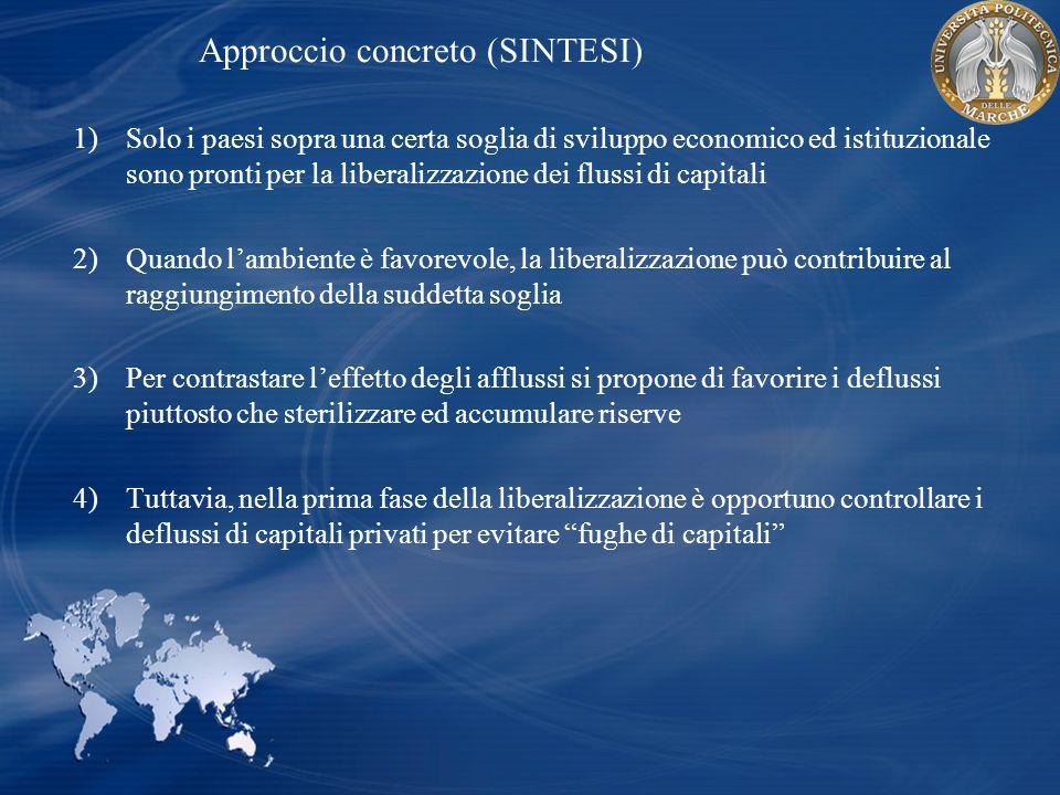 Approccio concreto (SINTESI) 1)Solo i paesi sopra una certa soglia di sviluppo economico ed istituzionale sono pronti per la liberalizzazione dei flus
