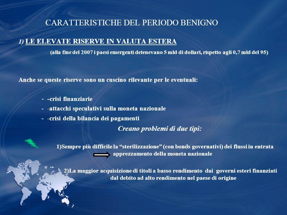 CARATTERISTICHE DEL PERIODO BENIGNO 1) LE ELEVATE RISERVE IN VALUTA ESTERA (alla fine del 2007 i paesi emergenti detenevano 5 mld di dollari, rispetto