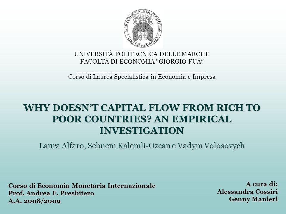 Perché il capitale non si sposta dai Paesi ricchi a quelli poveri.