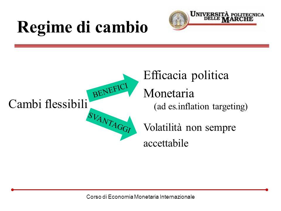 Corso di Economia Monetaria Internazionale Regime di cambio Cambi flessibili Efficacia politica Monetaria (ad es.inflation targeting) Volatilità non s
