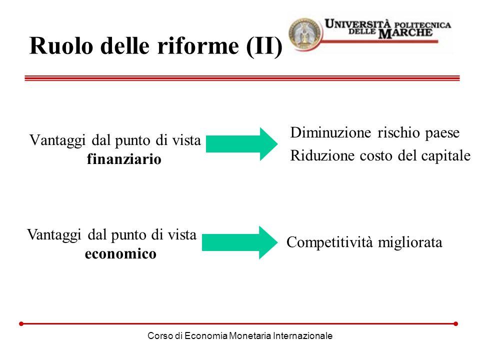 Corso di Economia Monetaria Internazionale Ruolo delle riforme (II) Vantaggi dal punto di vista finanziario Vantaggi dal punto di vista economico Comp