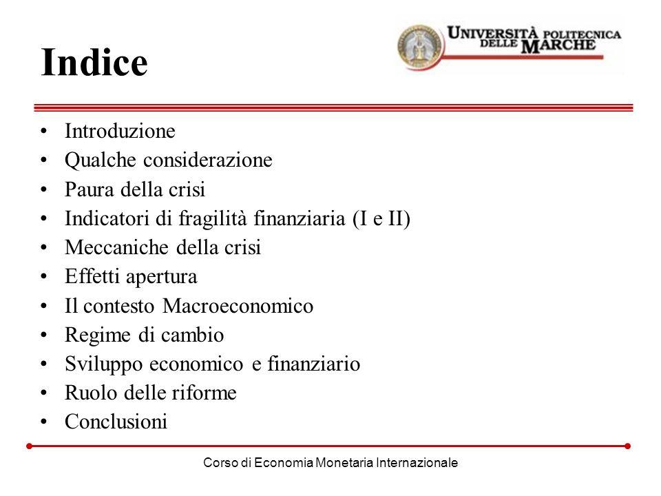 Corso di Economia Monetaria Internazionale Indice Introduzione Qualche considerazione Paura della crisi Indicatori di fragilità finanziaria (I e II) M