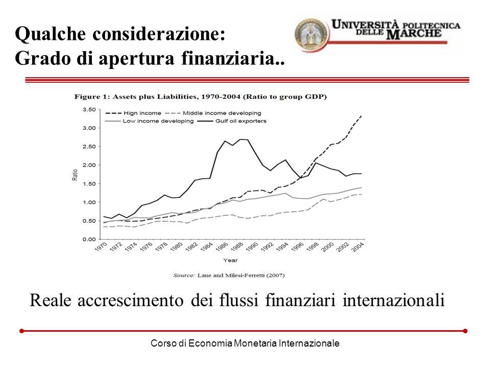 Corso di Economia Monetaria Internazionale Qualche considerazione: Grado di apertura finanziaria.. Reale accrescimento dei flussi finanziari internazi
