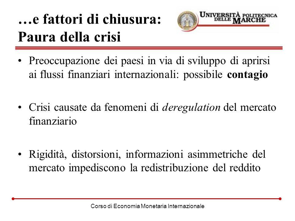 Corso di Economia Monetaria Internazionale …e fattori di chiusura: Paura della crisi Preoccupazione dei paesi in via di sviluppo di aprirsi ai flussi